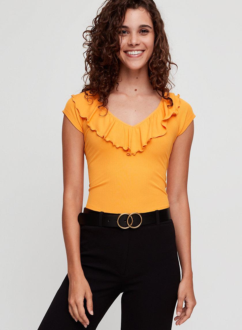 DANETTE T-SHIRT - Cropped, ruffled V-neck t-shirt