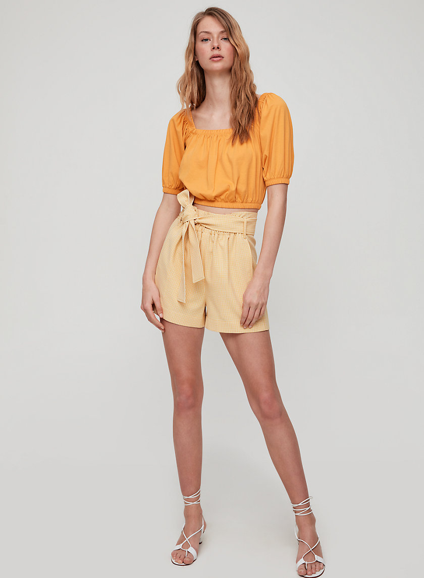 CAILA T-SHIRT - Cropped, off-the-shoulder t-shirt