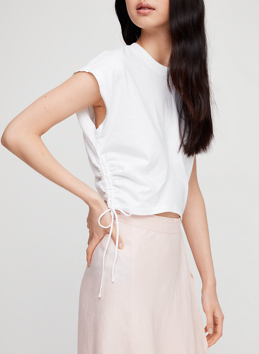 RUCHED T-SHIRT - Cropped, tie-up t-shirt