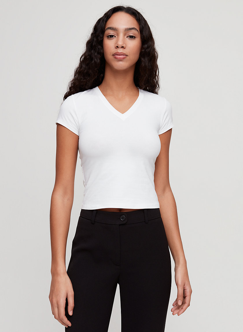 JESLYN V-NECK - Cropped, V-neck t-shirt