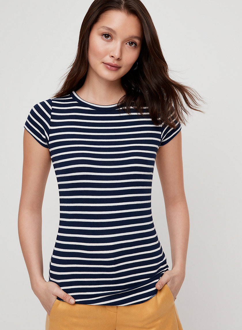DESIREE T-SHIRT - Striped, rib knit t-shirt