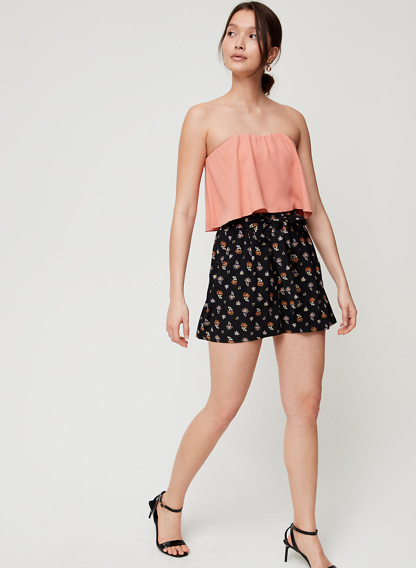 BONAVENTURE BLOUSE - Strapless flowy crop top