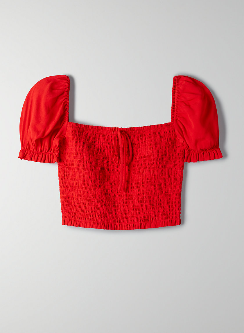 SMOCKED BLOUSE - Cropped, princess-sleeve blouse