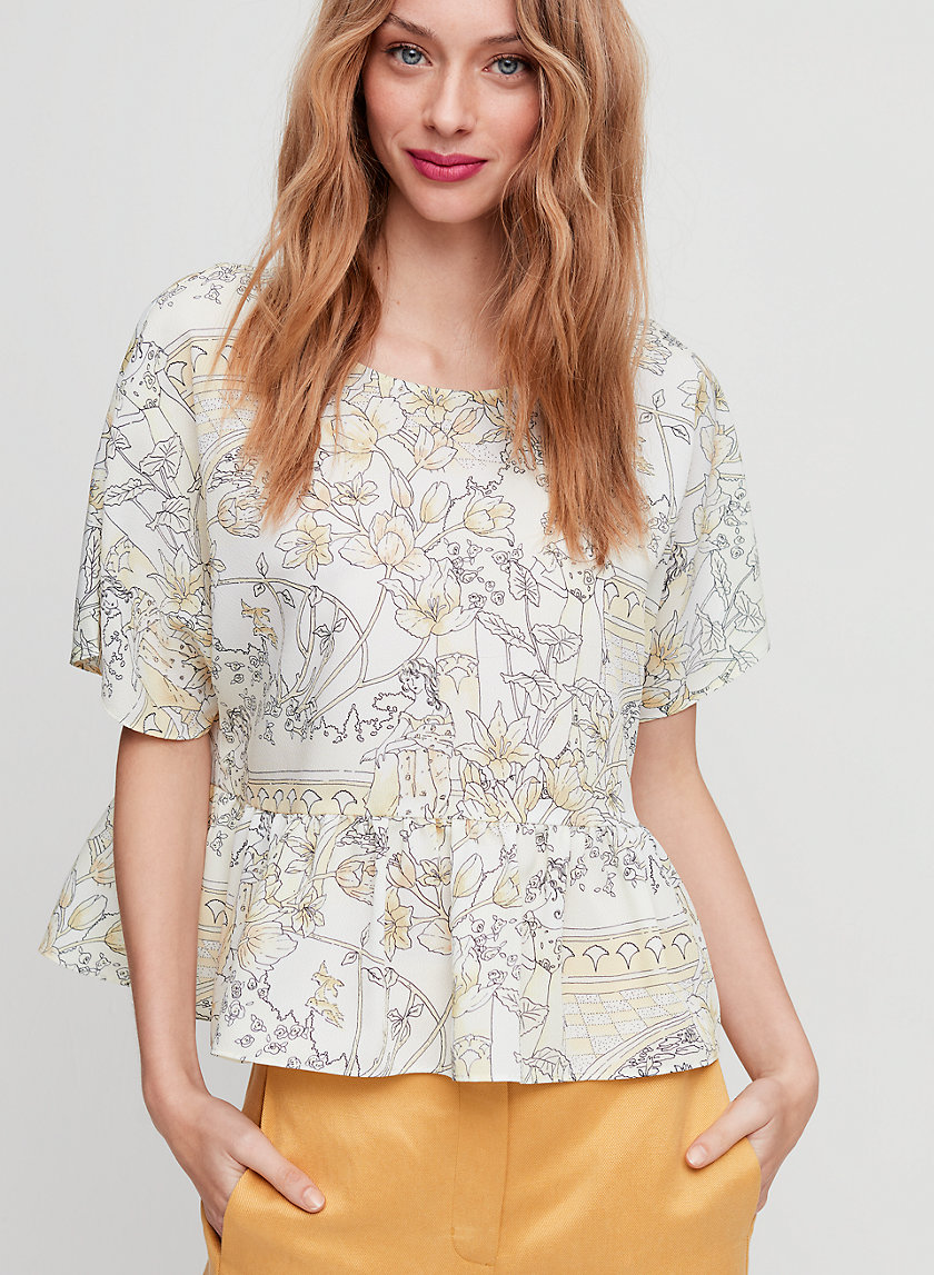MACEE BLOUSE - Short-sleeve, peplum blouse
