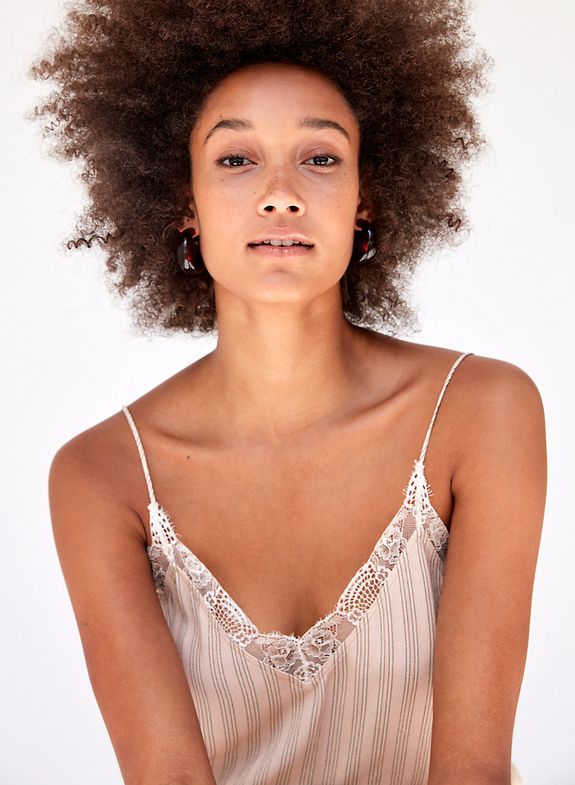 AGYNESS CAMISOLE - Cropped, lace-trimmed camisole