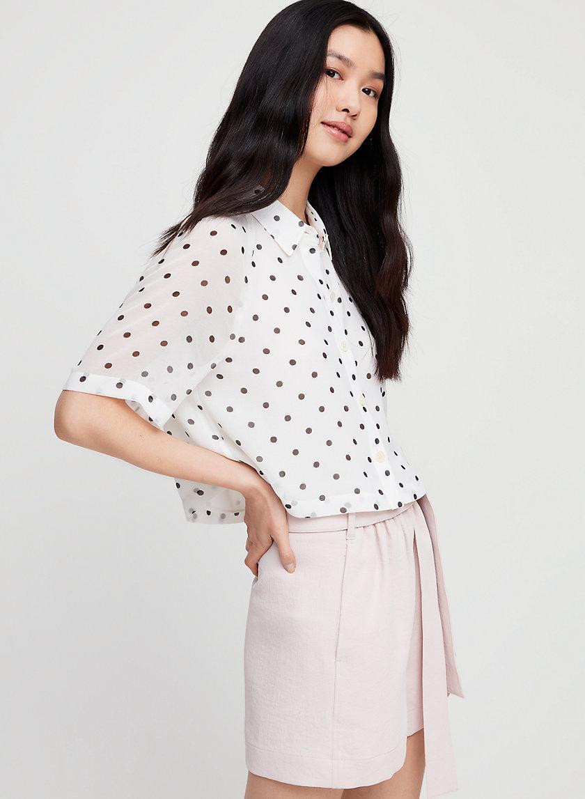 HENRIETTA SHIRT - Short-sleeve, polka dotted blouse