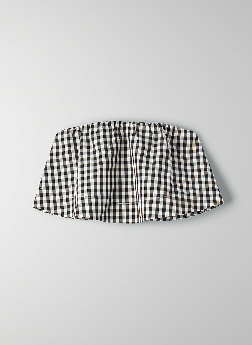 BONAVENTURE BLOUSE - Cropped, gingham tube top