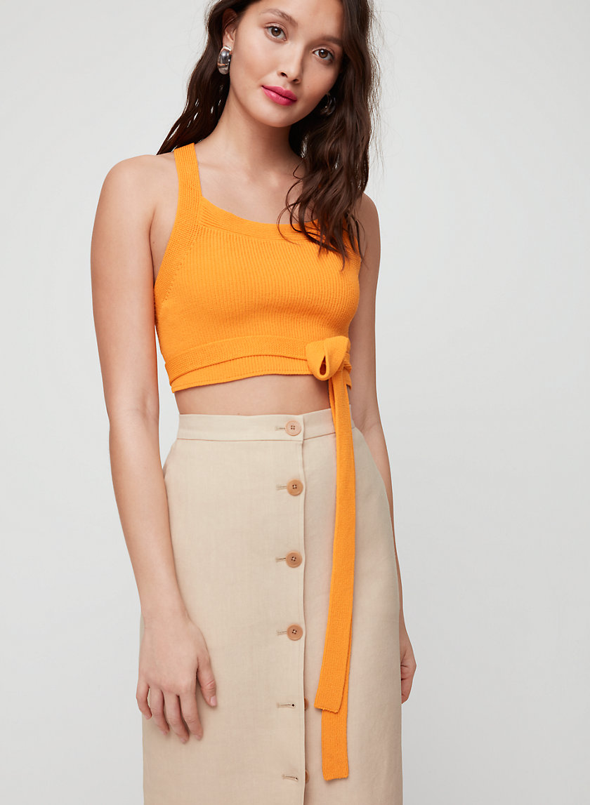 3480517e8ecc CAYENNE KNIT TOP - Open back, knit tank top. Styled with charrière skirt ...