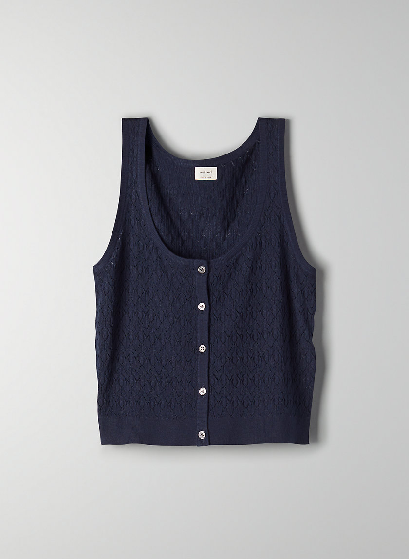 SWEATER TANK - Knitted, button-front tank top
