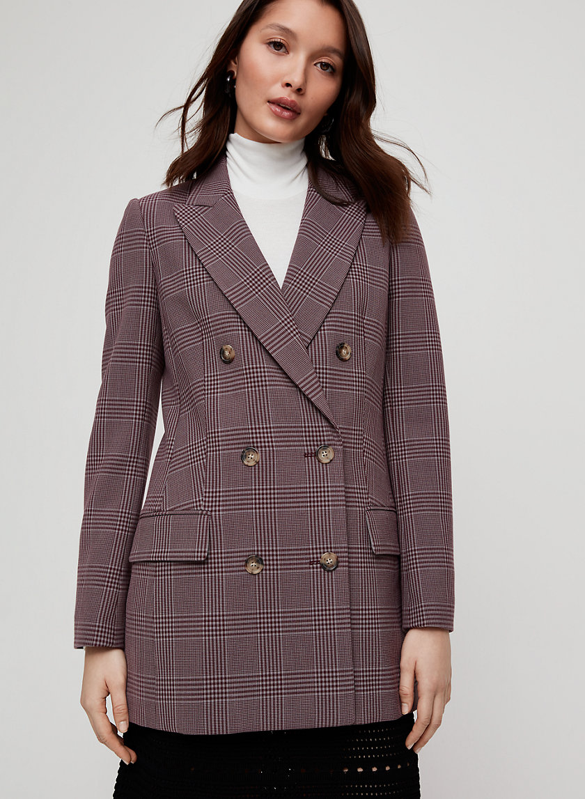 MARGAUX BLAZER - Plaid, double-breasted blazer