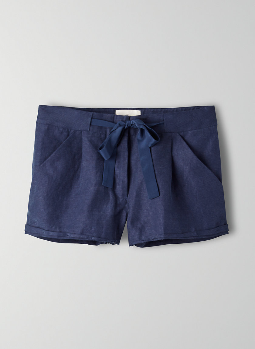ALLEGRA SHORT - Linen-blend, tie-waist shorts