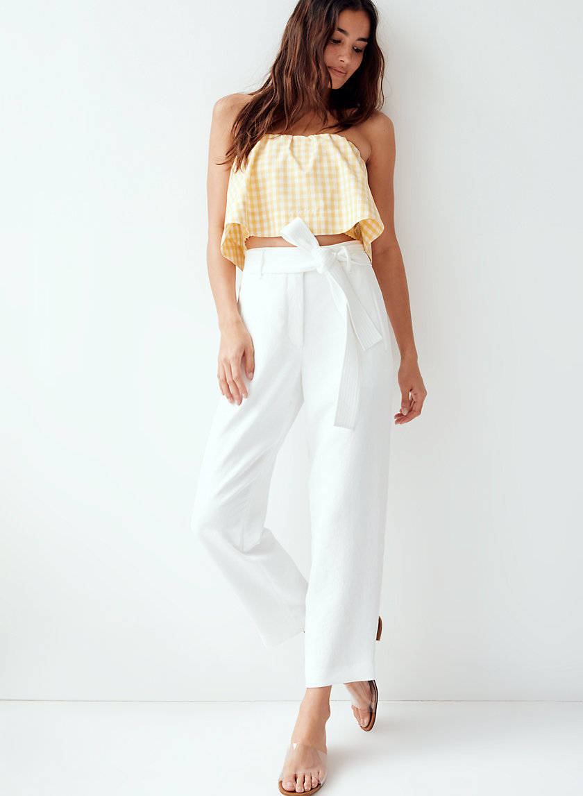 TIE-FRONT PANT - Cropped, high-waisted pants