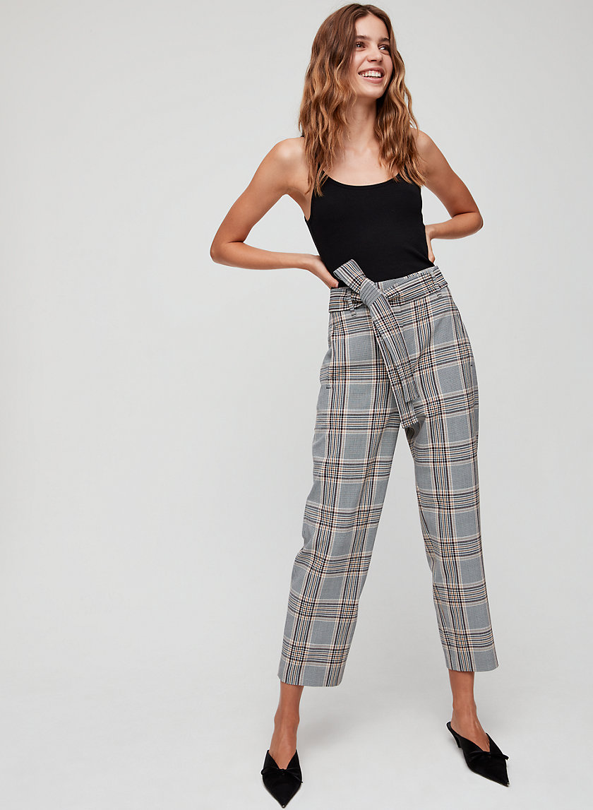 TIE-FRONT PANT - Cropped, high-waisted plaid pant