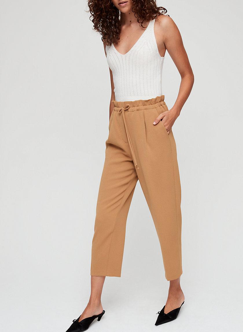 KARI PANT - Cropped, paperbag-waist pants