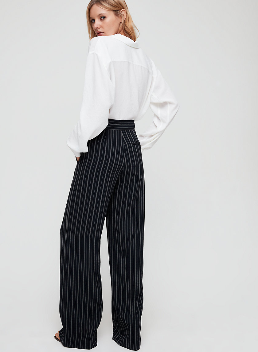 CLARISSE PANT - Wide-leg, pinstripe trousers