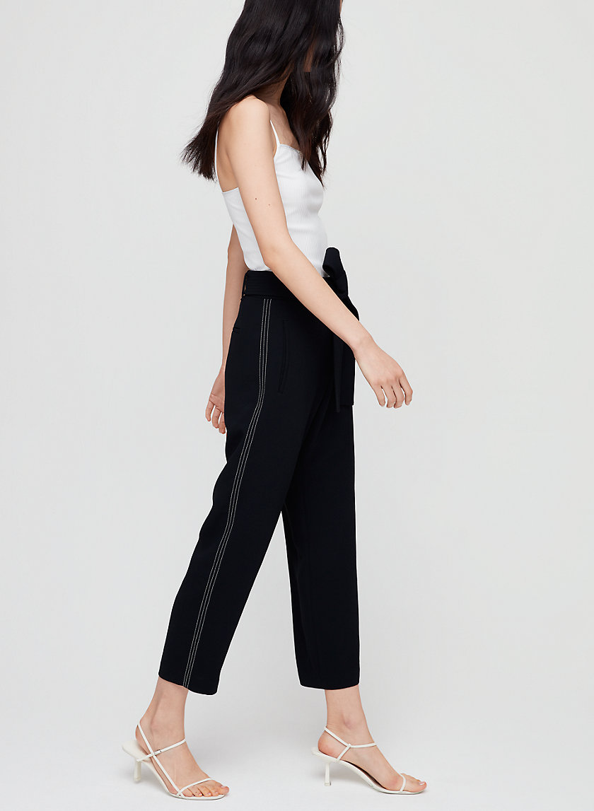TIE-FRONT PANT - High-waisted pant with side stripe