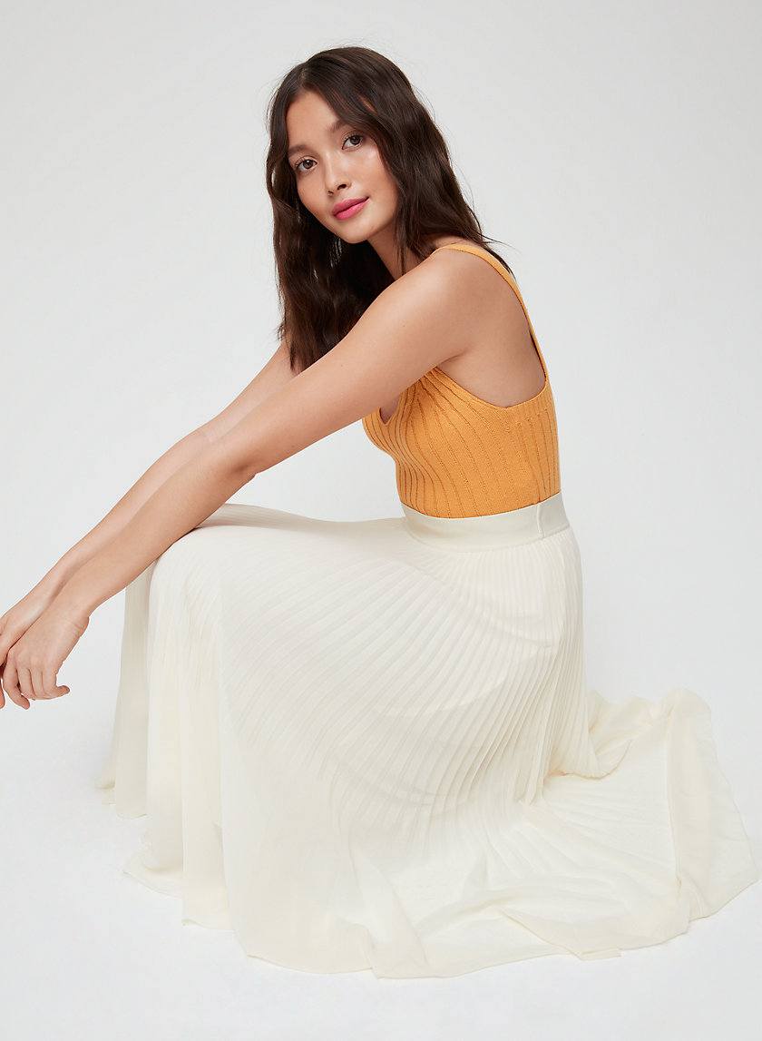 TWIRL SKIRT - Pleated, chiffon midi skirt