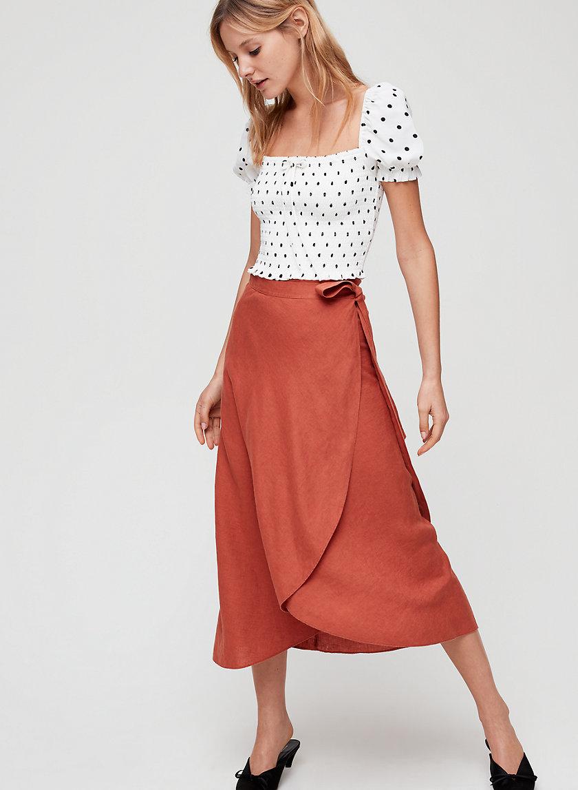 ELETA SKIRT - Linen-blend, wrap midi skirt
