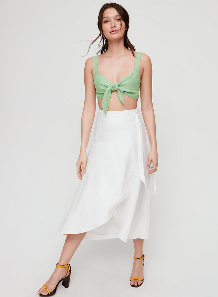 ELETA SKIRT - Linen-blend, wrap midi skirt