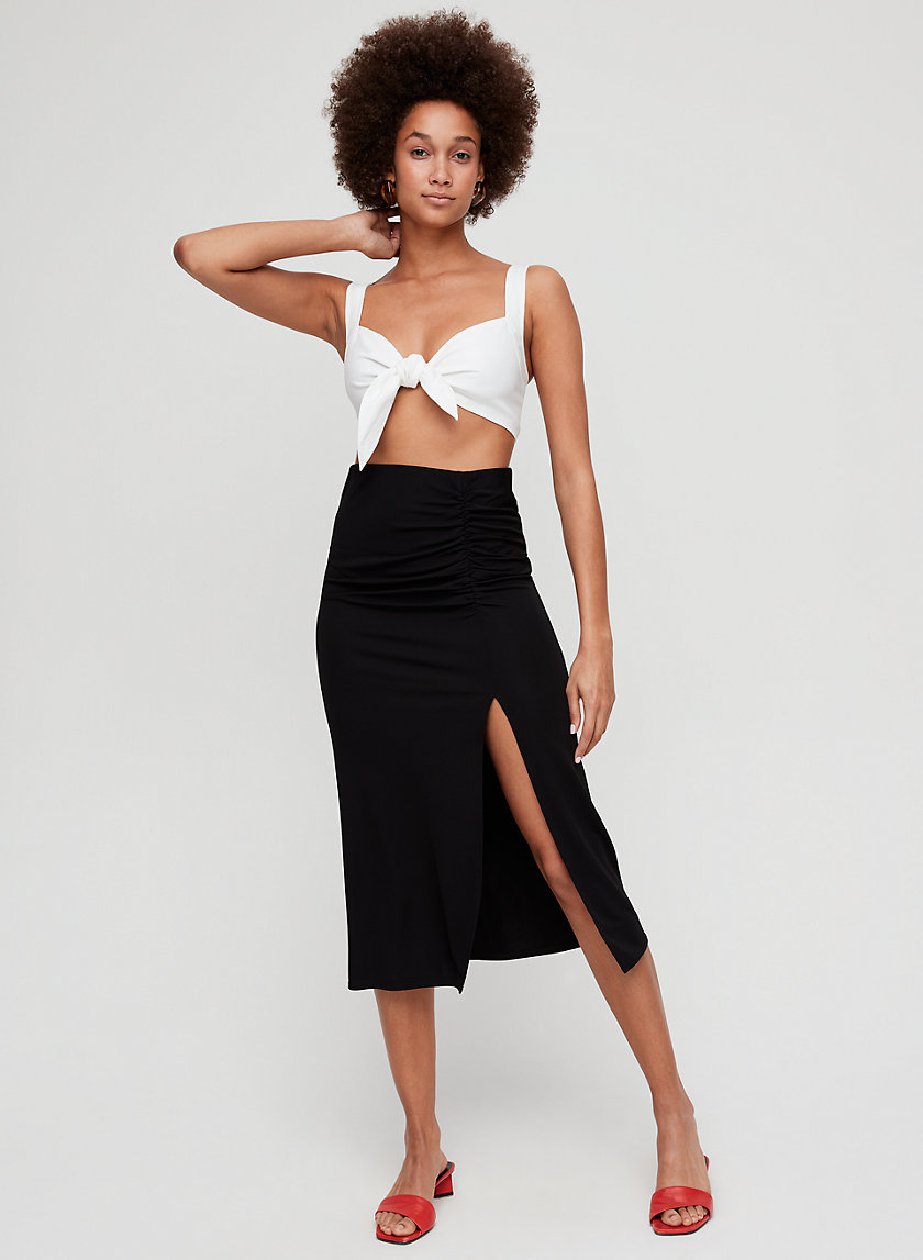 BOUSSAN SKIRT - Ruched midi skirt with thigh slit