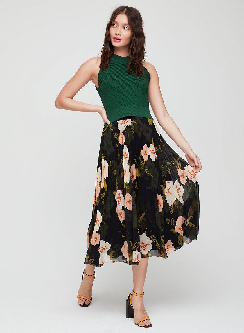 TERRE SKIRT - Pleated, floral midi skirt
