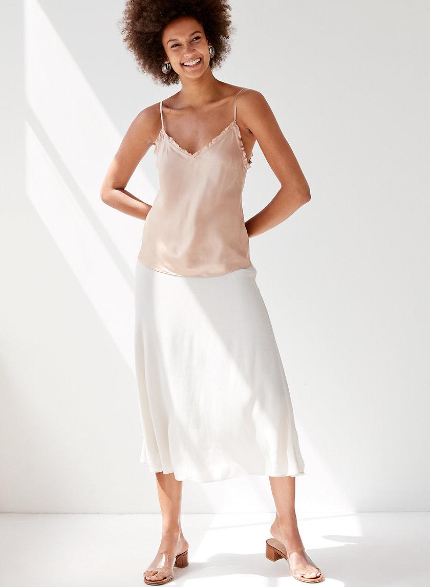 MIDI SKIRT - Slip-Style A-line Skirt