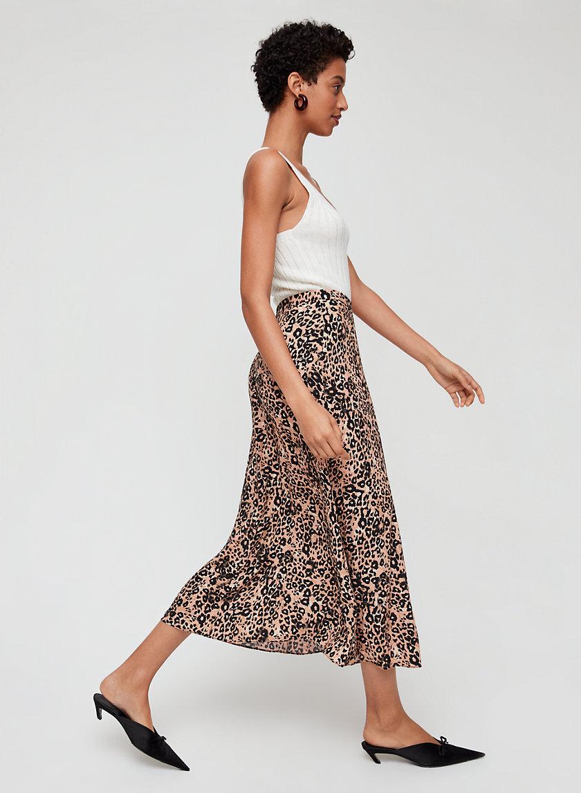 LEOPARD MIDI SKIRT - Slip-Style A-line Skirt