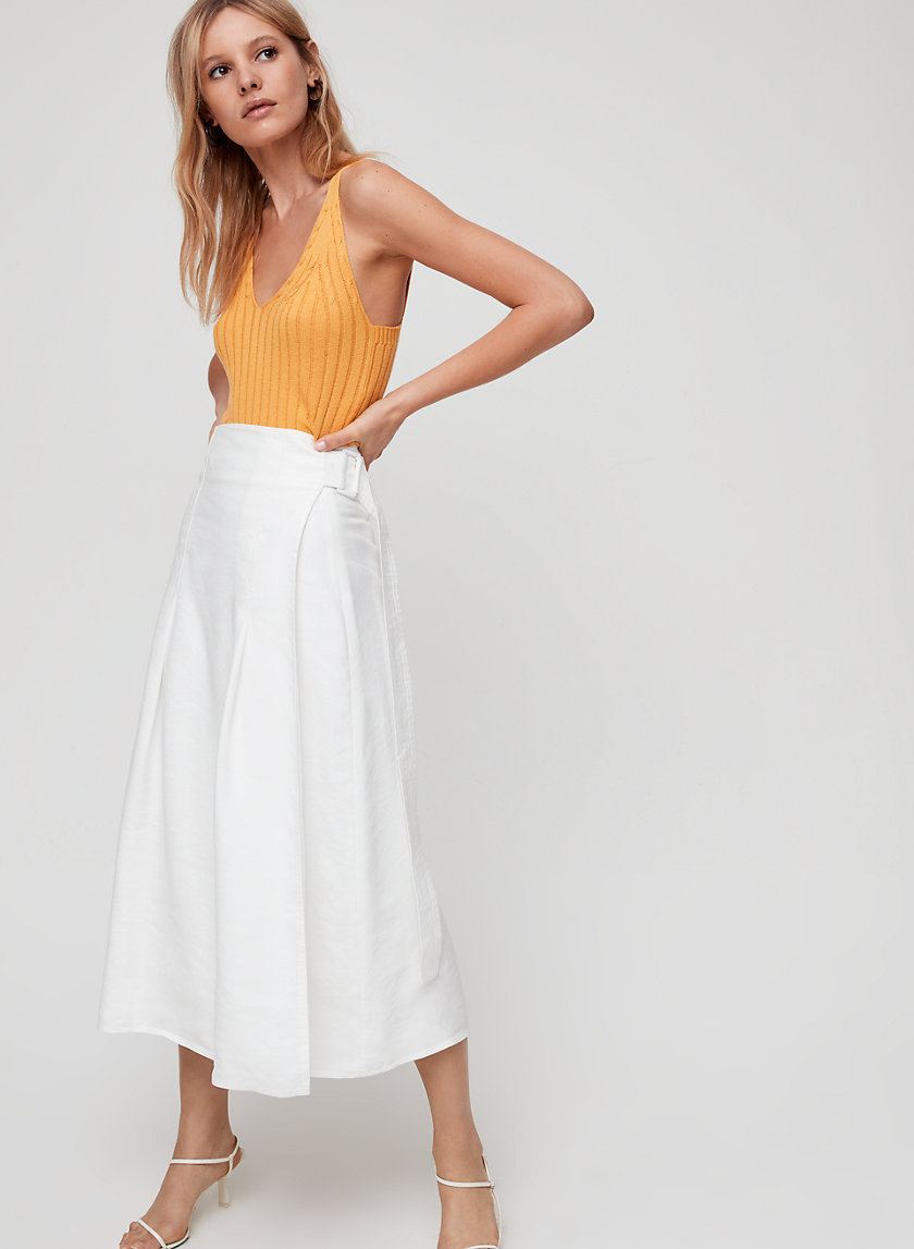 SILANA SKIRT - Wrap, linen-blend midi skirt