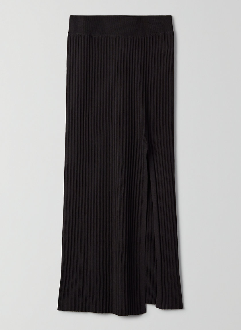KNIT SLIT SKIRT - Knit midi slit skirt