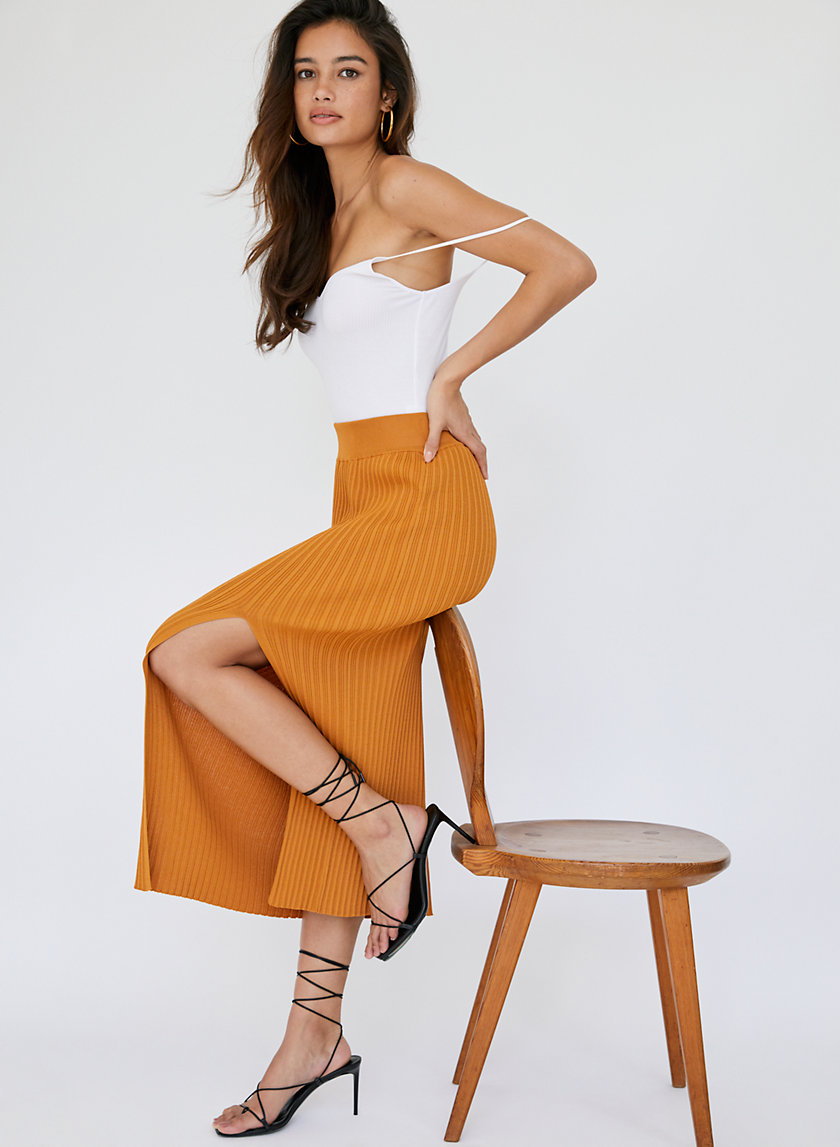 KNIT SLIT SKIRT - Knit midi slit skirt