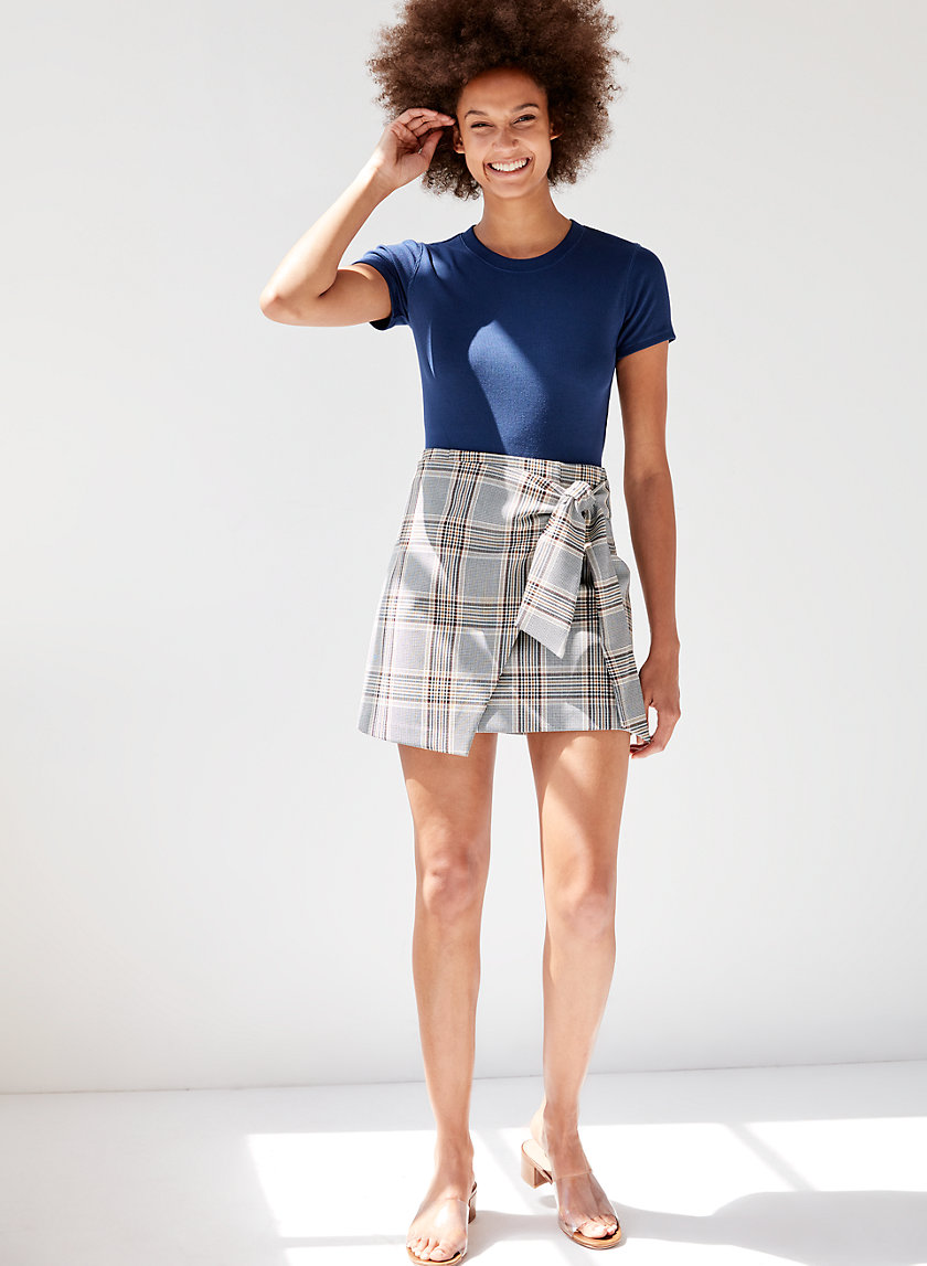DORINE SKIRT - Faux Wrap Mini Skirt