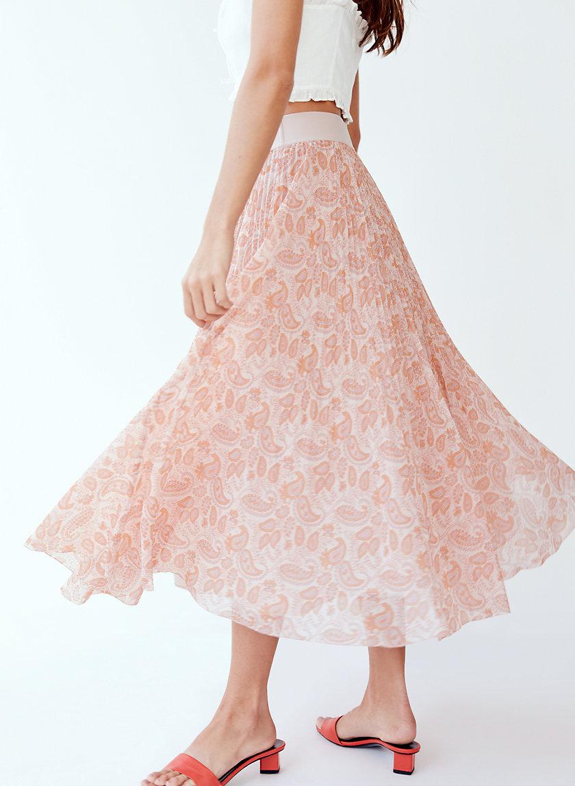 TERRE SKIRT - Paisley-print, pleated midi skirt