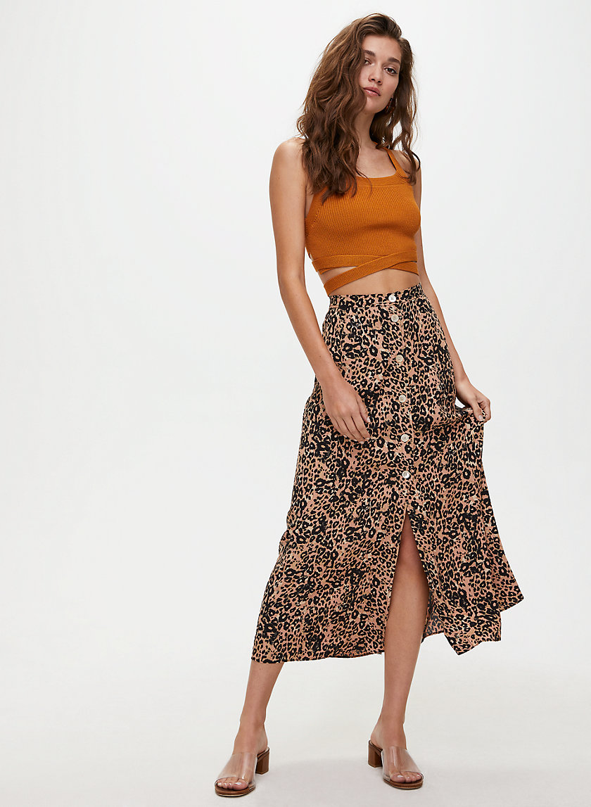 AMELIE SKIRT - Leopard-print, button-front midi skirt
