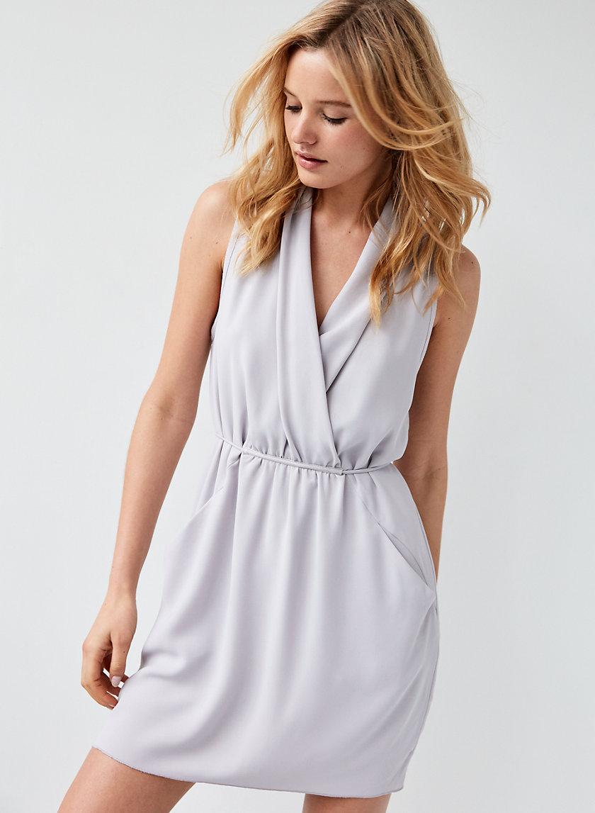 SABINE DRESS - Faux-wrap mini dress with pockets