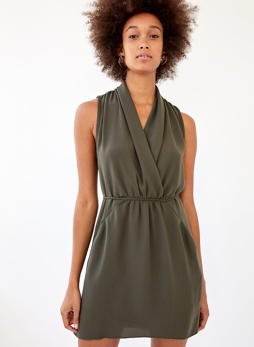 SABINE DRESS - Faux-wrap mini dress with pockets
