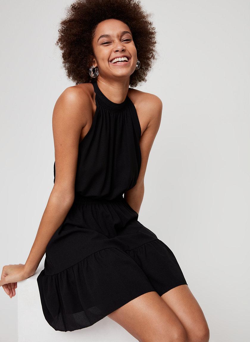 EFFET MINI DRESS - Cinched-waist, halter, mini dress
