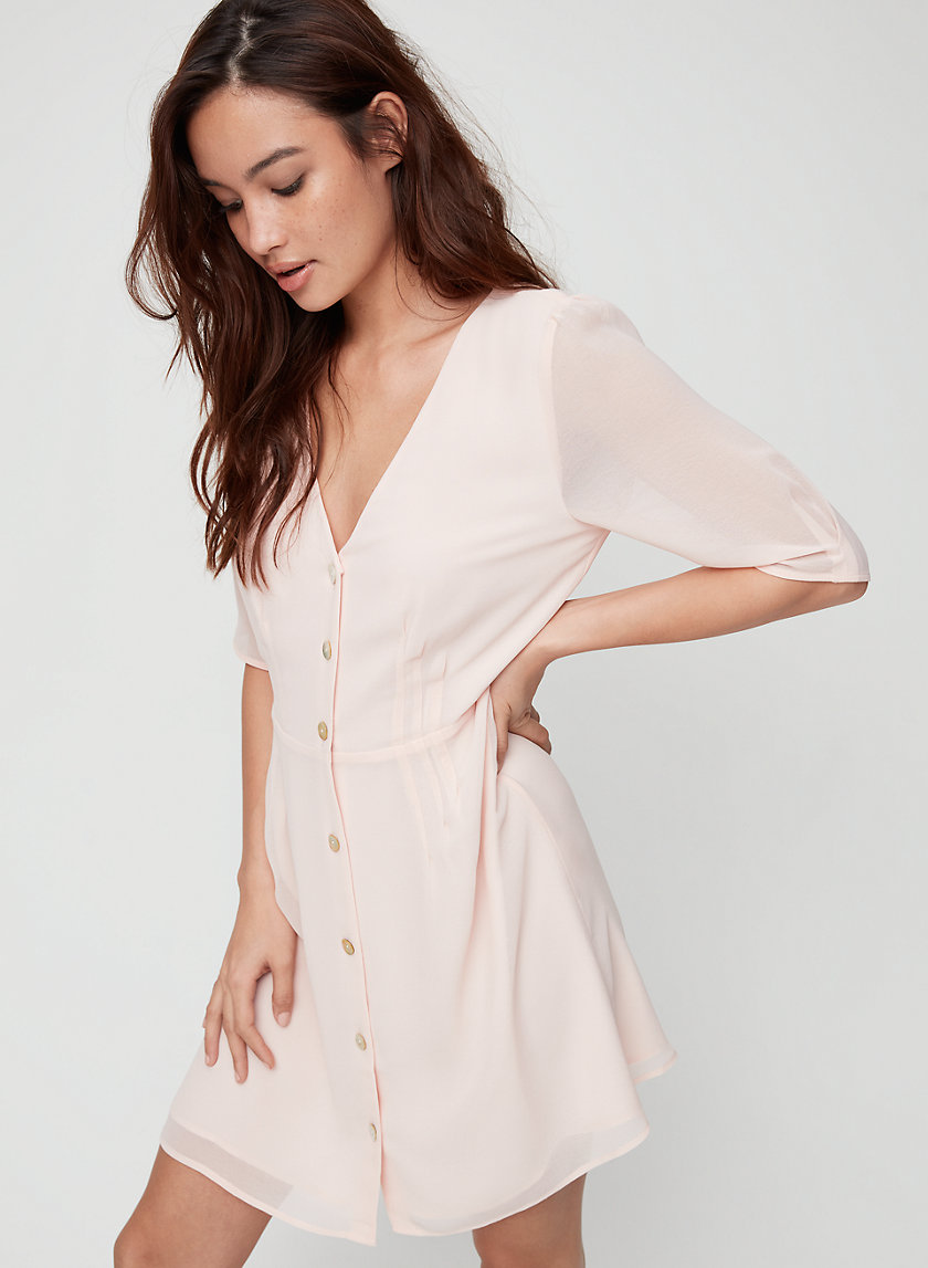 BUTTON-FRONT DRESS - Short-sleeve, A-line dress