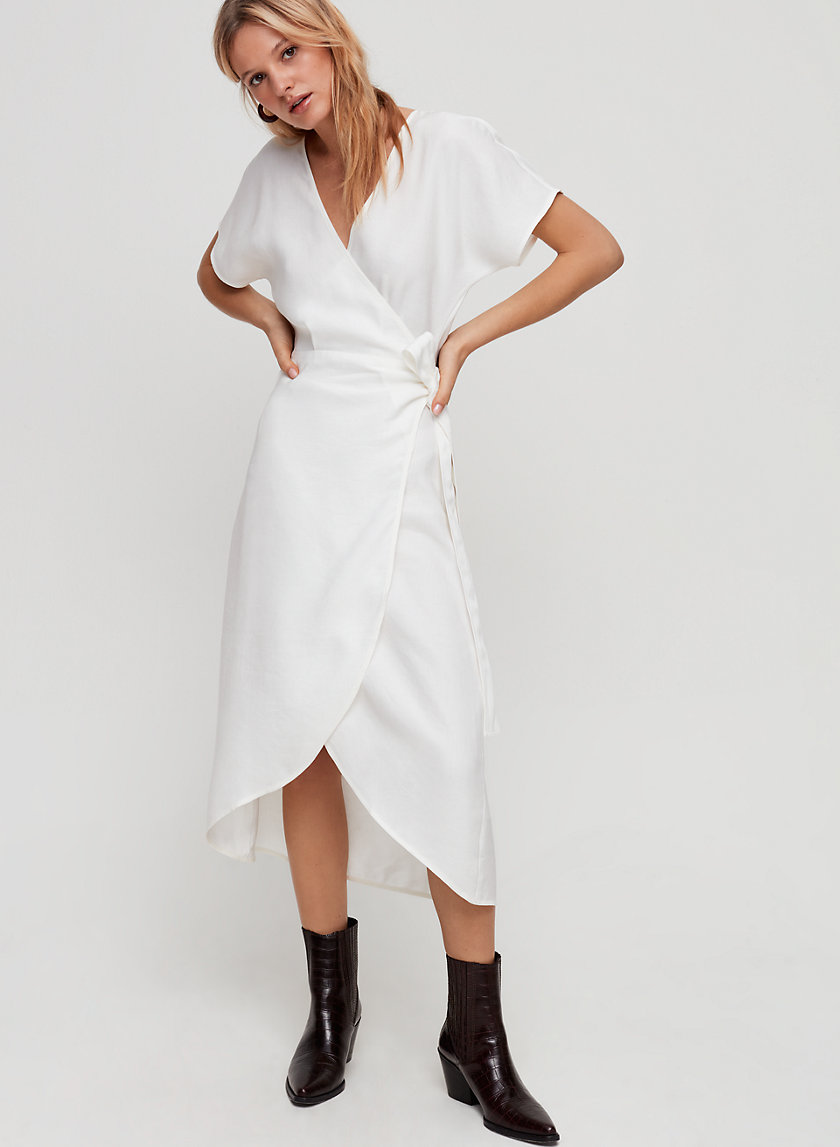 MADALENE DRESS - Wrap, linen-blend midi dress