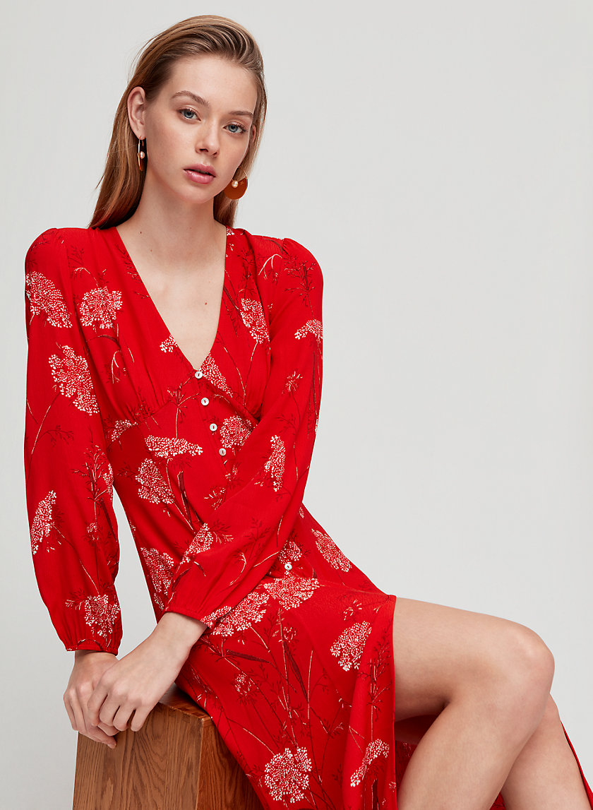 GALLERY DRESS - Long-sleeve, button front midi dress