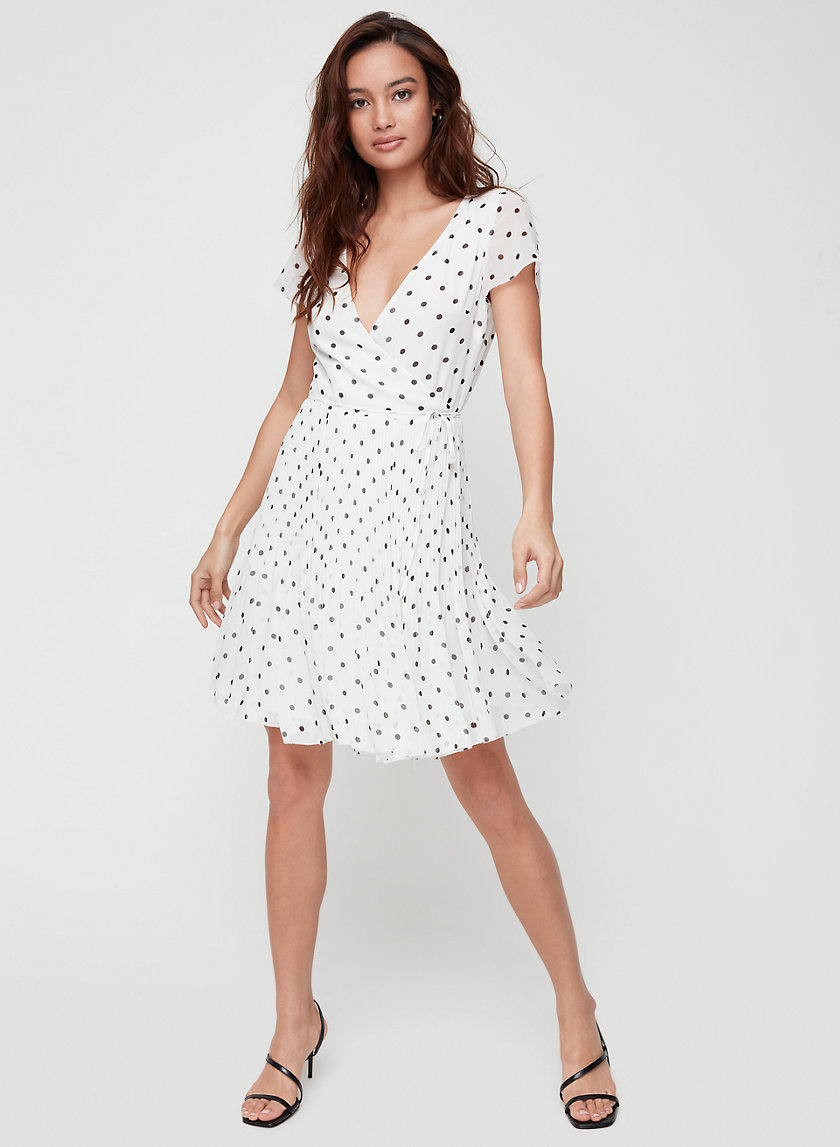 BEAUNE DRESS SHORT SL - Polka-dotted, pleated wrap dress