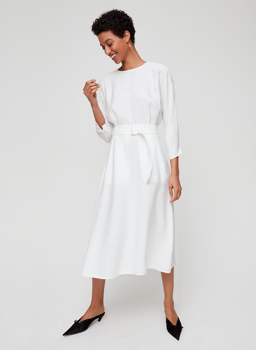 TAVIN DRESS - Belted, linen-blend midi dress
