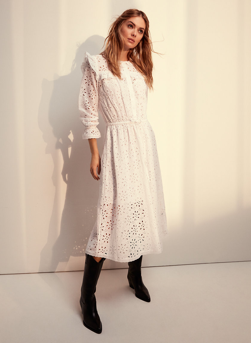 GAIA DRESS - Ruffled, eyelet midi dress
