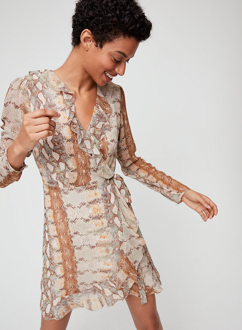 LOUISE DRESS - Ruffled, snake print wrap dress