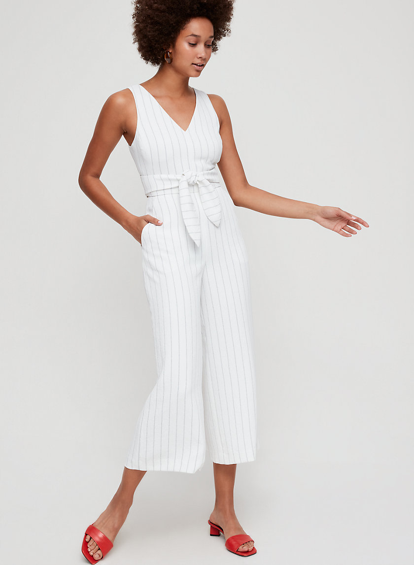 ÉCOULEMENT V JUMPSUIT - Striped, V-neck jumpsuit