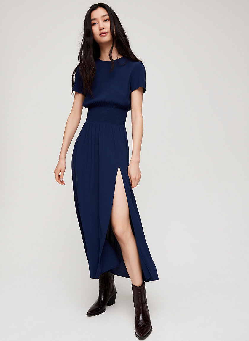 MAXIME DRESS - Puff Sleeve Slit Maxi Dress