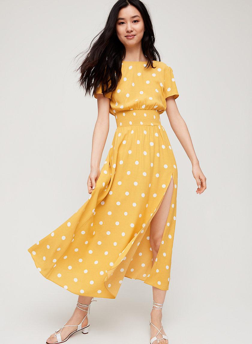 MAXIME DRESS - Puff Sleeve Slit Maxi Dress