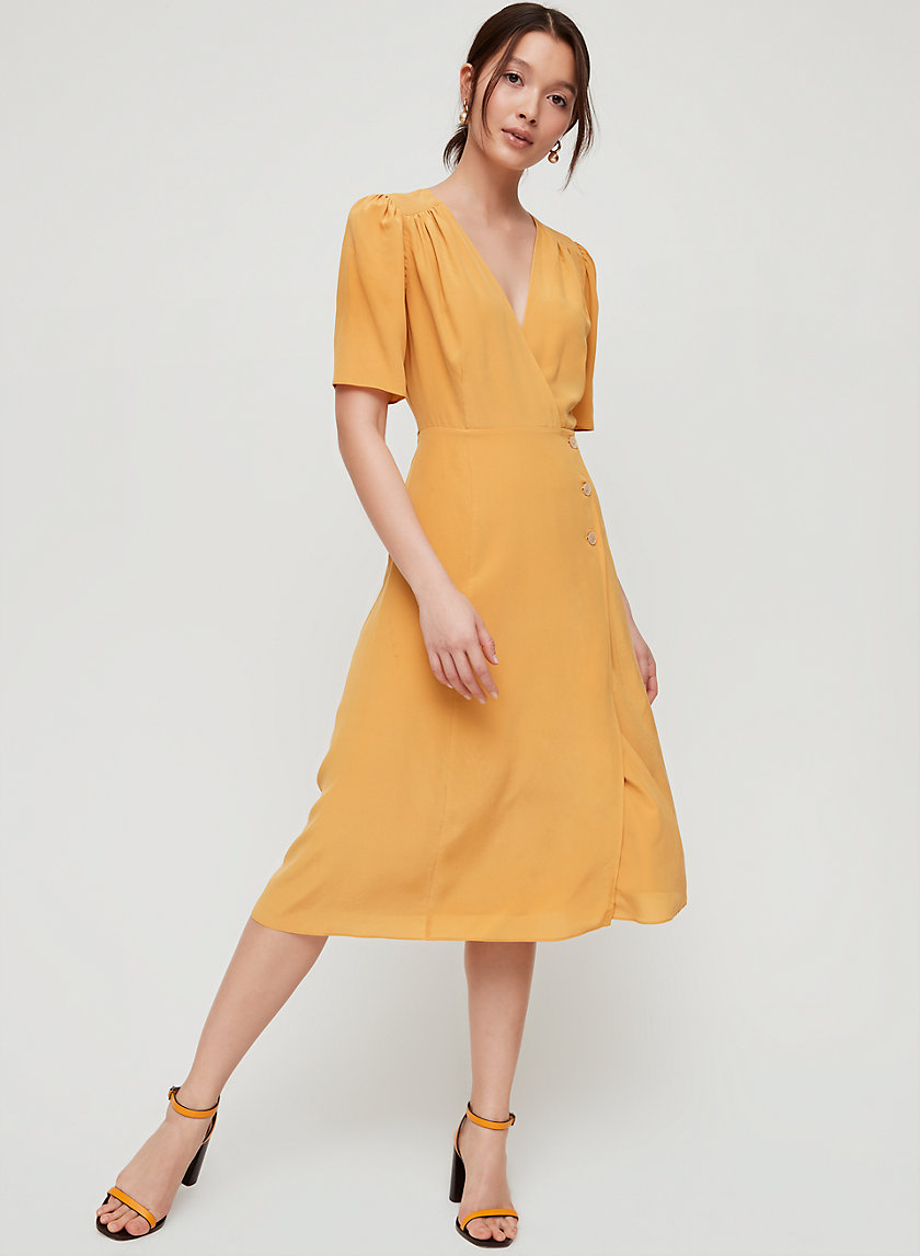 MIRABELLE DRESS - Silk, wrap midi dress