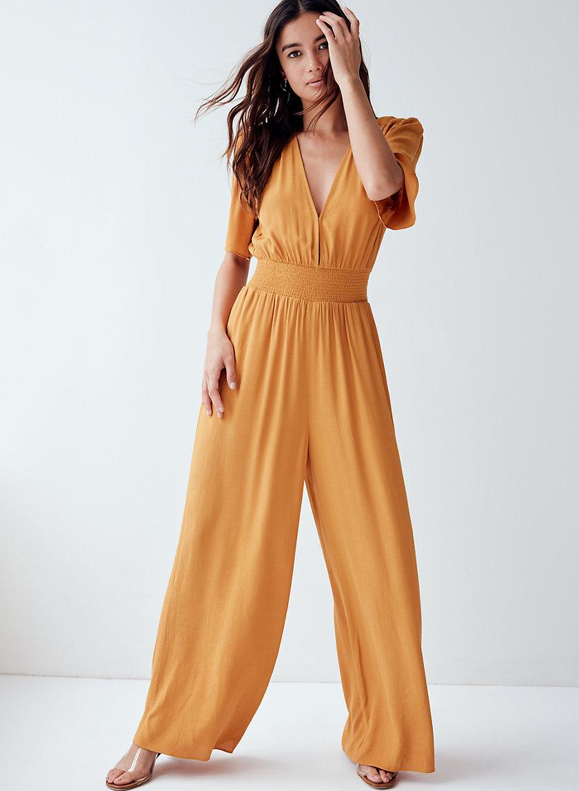 ILLANA JUMPSUIT - Smocked-waist wide-leg jumpsuit