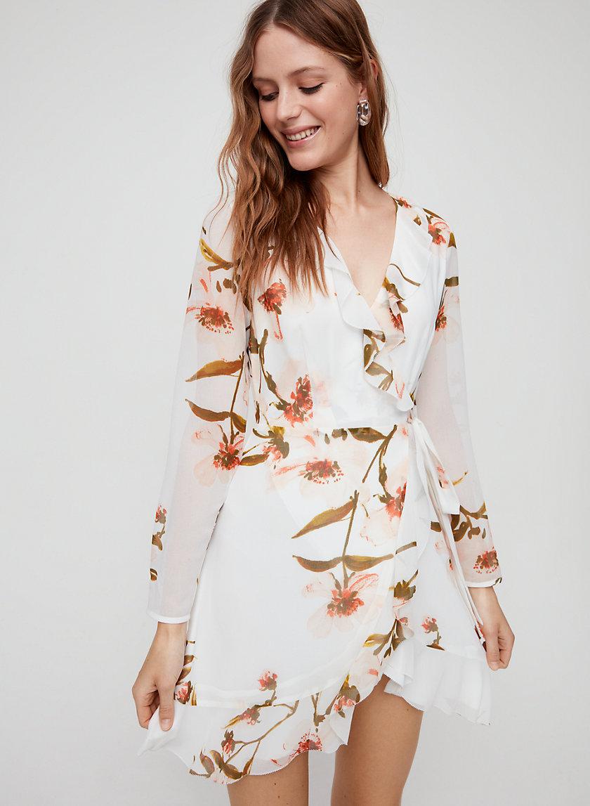 LOUISE DRESS - Long-sleeve, floral wrap dress