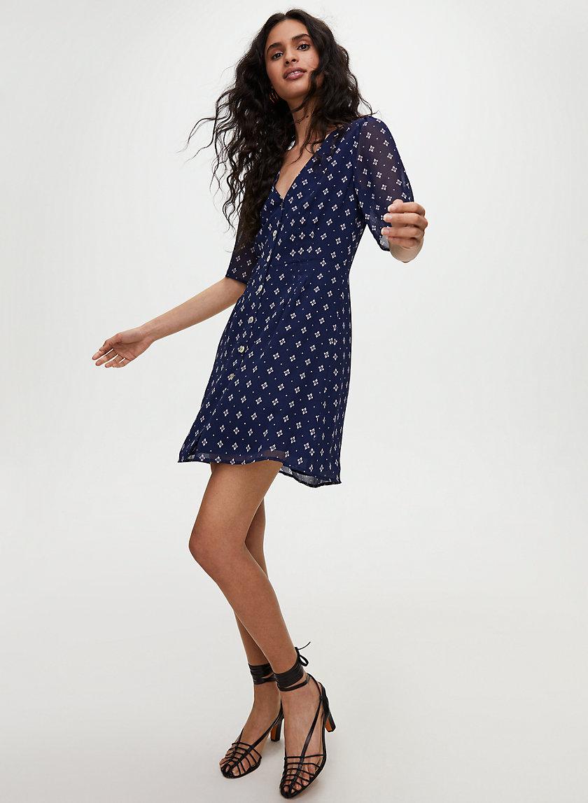 BUTTON-FRONT DRESS - Short-sleeve, A-line dress